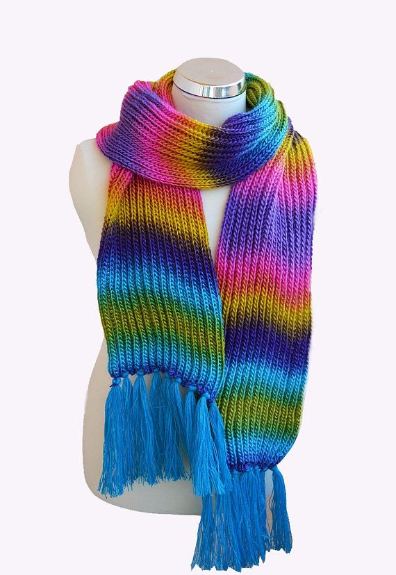 Knitted multicolor scarf unique red blue purple by DosiakStyle