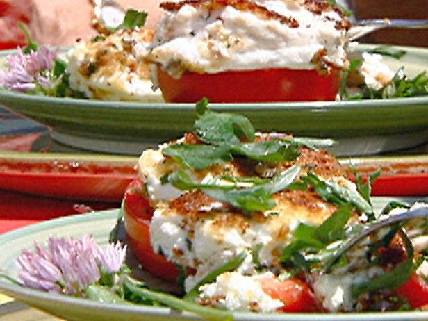 Tomato Steak with Baked Goat Cheese and Herb Salad