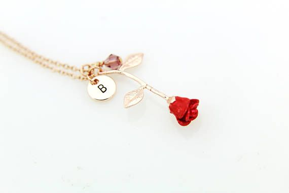 Red Rose Necklace, Rose Gold Initial Necklace, Rose Gold Rose Charm Necklace,Birthstone Jewelry, Gold Rose Necklace, Personalized Necklace