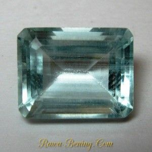 Batu Permata Aquamarine 3.35 carat Warna Light Blue Bentuk Rectangular