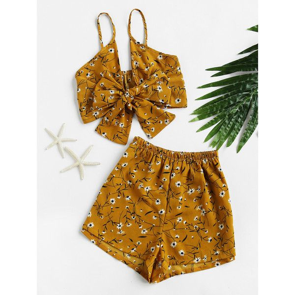 SheIn(sheinside) Florals Bow Tie Open Front Crop Cami Top With Shorts ($15) ❤ liked on Polyvore featuring tops, yellow, sexy crop top, cropped tops, sexy tops, floral crop top and strappy top