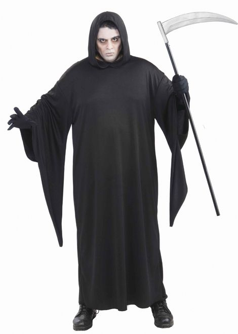 Plus Grim Reaper Robe Halloween Costume - This is a Grim Reaper costume. This is a classic look for Halloween. This one piece costume is a big black cloak. It is a very large and comfortable outfit made of a silk-like black fabric with an attached hood. The hood is large and pointed and gathers around the neck. It also has very big, flared sleeves that come to a point along the bottom of the cuffs. #halloween #yyc #calgary #costume #mens #reaper