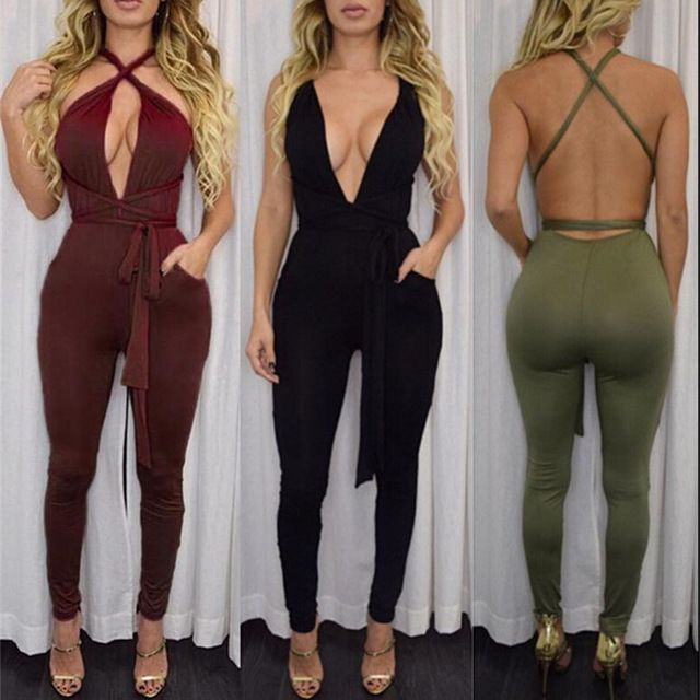 Price: US $9.98>>>> 9 colors Women Fashion Pocket Rompers and Jumpsuit 2017 Spring Sexy Cross Playsuit Bodysuits Elegant Bandage Plus Size