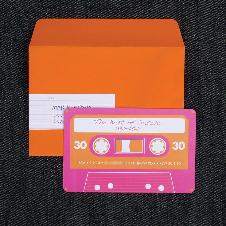 """Cute invites for an 80s party!  maybe i could use the cassette tape idea for labeling food, """"yearbook"""", etc"""