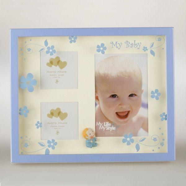 Niebieska ramka dziecięca na 3 zdjęcia