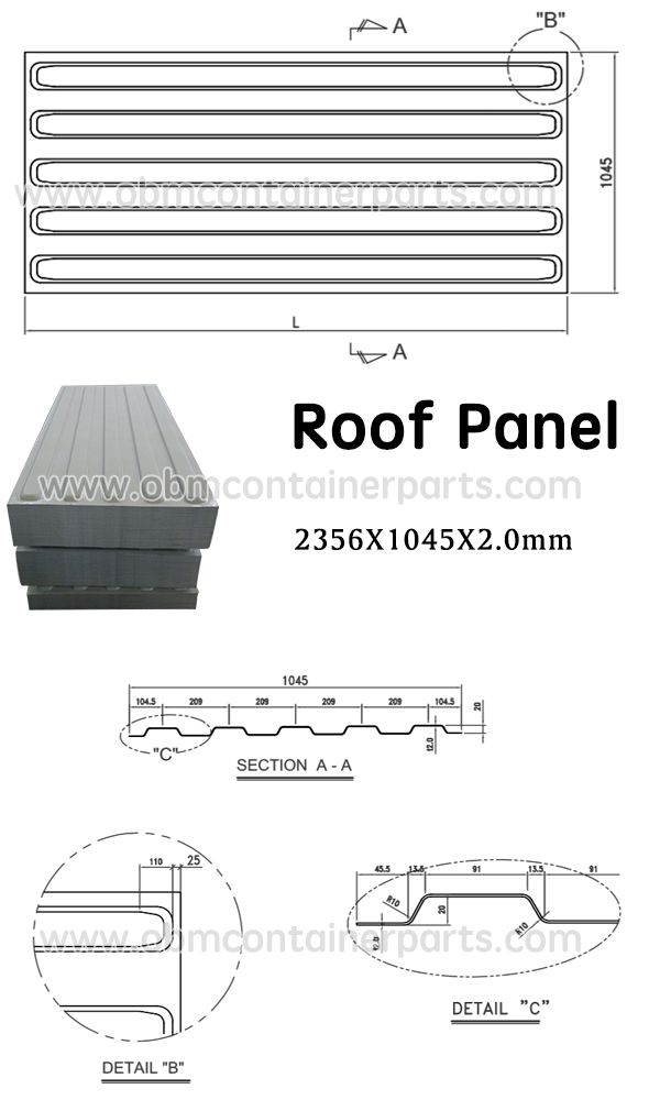 Shipping Container Roof Panel Shipping Container Parts Standard Dry Box Parts Roof Panels Bamboo Containers Plywood Flooring