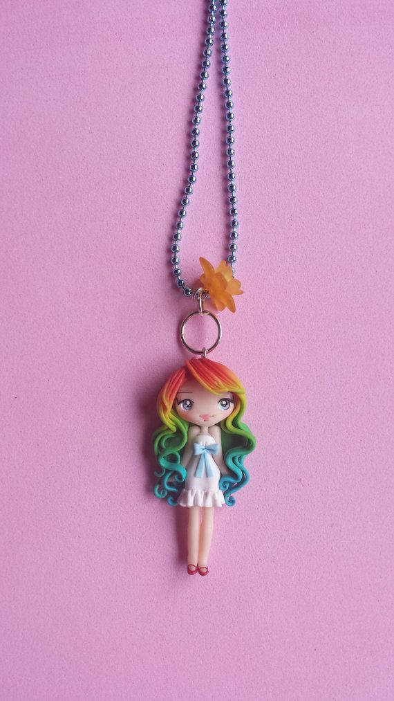 Necklace girl rainbow in fimo polymer clay by Artmary2 on Etsy