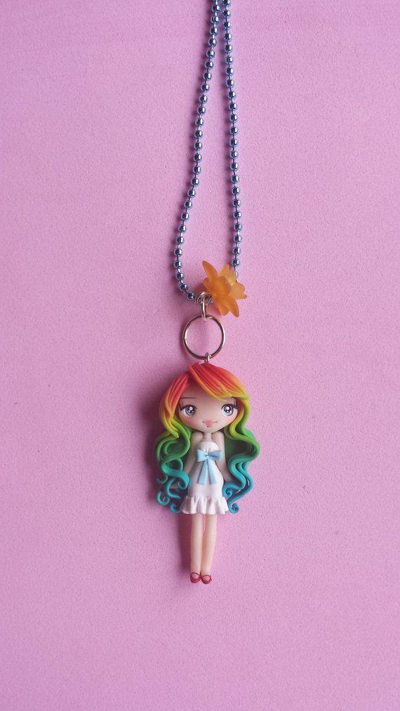 Arco iris chica collar de fimo arcilla polimérica por Artmary2
