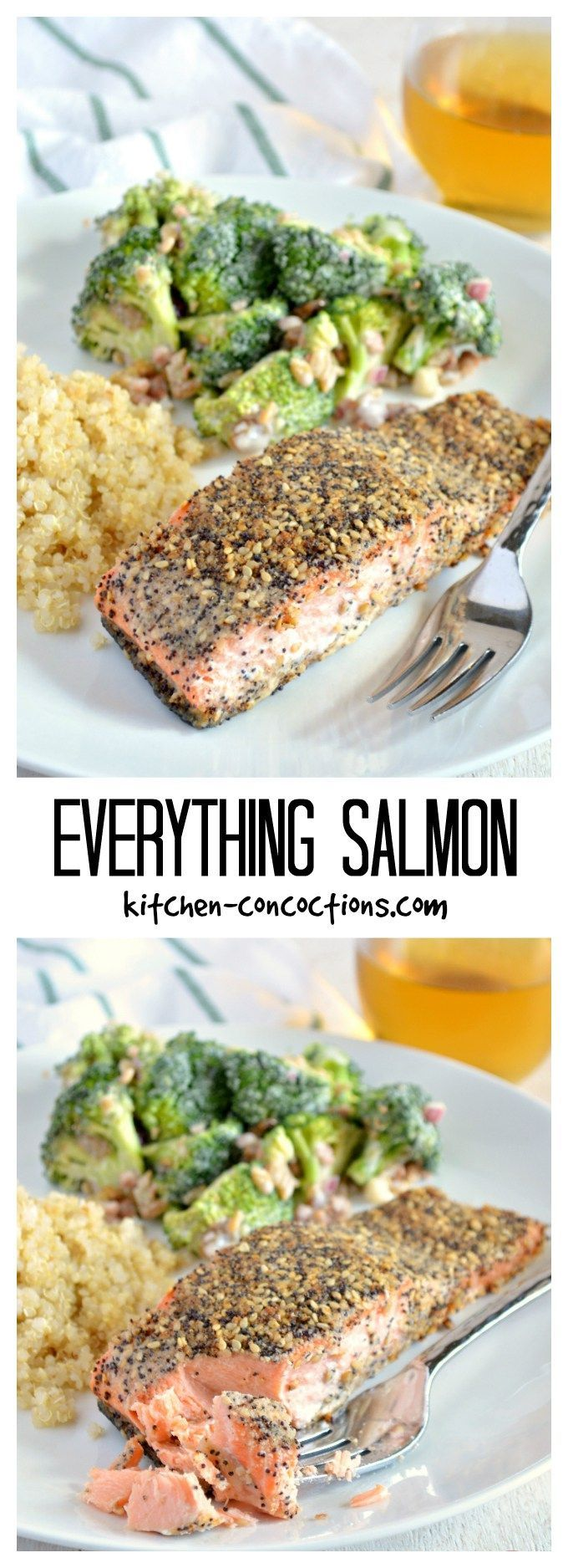 "Everything Seasoned Salmon - This easy Everything Salmon recipe, pan seared salmon topped with homemade ""everything bagel"" seasoning, is our go to recipe for salmon! It is a healthy and quick 30 minute meal perfect for weeknight dinners!"