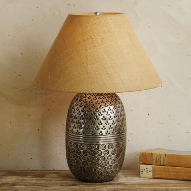 Punjabi jar lamp adapted from traditional indian storage jars the hand chased silverplated brass base of our graceful lamp shimmers beneath its textured