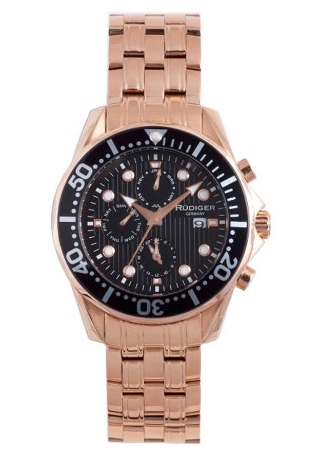 Price:$336.56 #watches Rudiger R2001-09-007, Rudiger Chemnitz Men's chronograph Round Black Watch