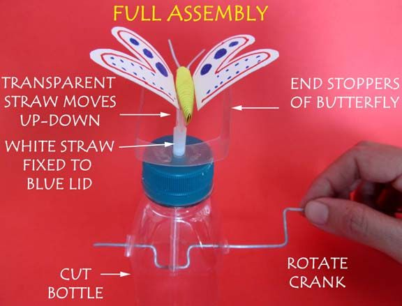Made with a bottle as the base and wire poked through a straw as the mechanism.