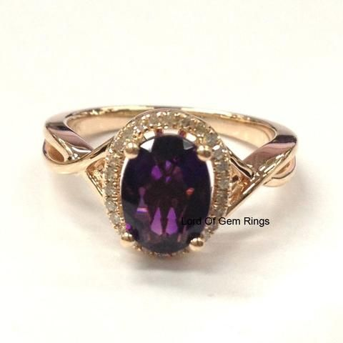 Oval Dark Purple Amethyst Engagement Ring Pave Diamond Wedding 14K Rose Gold 6x8mm Floral - Lord of Gem Rings - 1