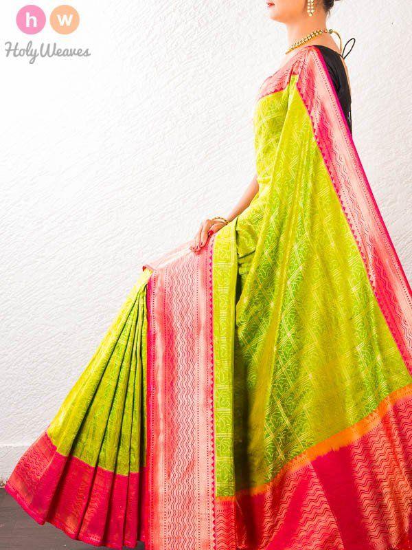 #Green #Handwoven #Katan #Silk #Cutwork #Brocade #Saree #HolyWeaves