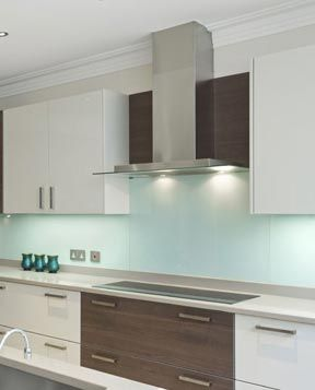 Love the blue Glass kitchen splashback