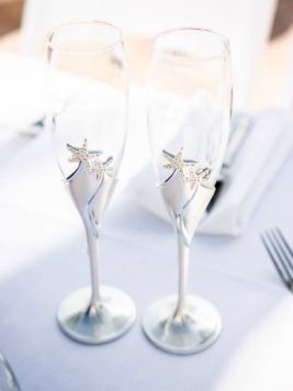 Beach Wedding Champagne Flutes: Photo by Andi Diamond Photography via Heather Renee Celebrations