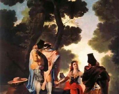 La maja y los embozados 1777 Lienzo. 2,75 x 1,90 Museo del Prado, Madrid.  La producción de Goya es enormemente rica y varia. El Prado, que posee una asombrosa cantidad de obras suyas, muestra casi por entero la evolución, lenta y personal, de su sensibilidad. Los principales jalones de la vida artística de Goya están aquí representados, desde la pintura de sus primeros años madrileños -los cartones para tapices que dan su aspecto vivo, sensible y popular, matizado a veces de ironía y de…