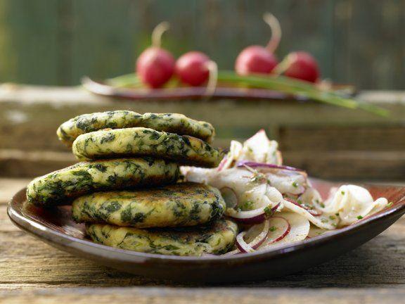 Spinat-Quark-Plätzchen mit Radieschen und Rettich mit nur 340 Kalorien