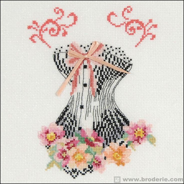 Kit point de croix bustier au ruban rose dmc points - Broderie points comptes grilles gratuites ...