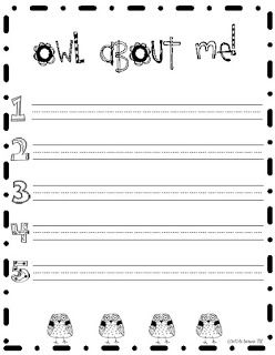 "Kindergarten & First Grade Fever!: ""Owl"" About Me! Glyph/Writing Craftivity"