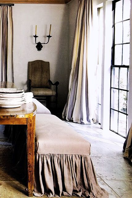 """✕ Draped in elegant / #home #chateau  {love the play between the rich heavy drapes & the fairly stark space & yes of course """"my"""" windows..."""