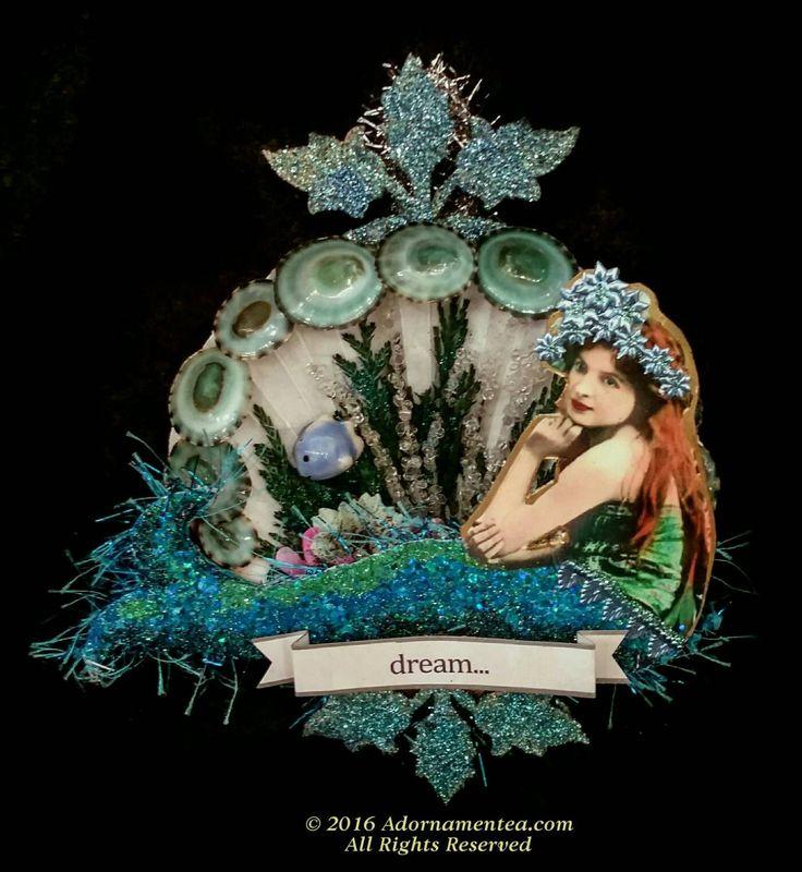 Victorian Mermaid ornament. Mermaid Christmas ornament. Vintage Christmas ornament. Mermaid ornament. Beach ornament. Ocean. Sea. MER1606 by Adornamentea on Etsy https://www.etsy.com/listing/475638836/victorian-mermaid-ornament-mermaid