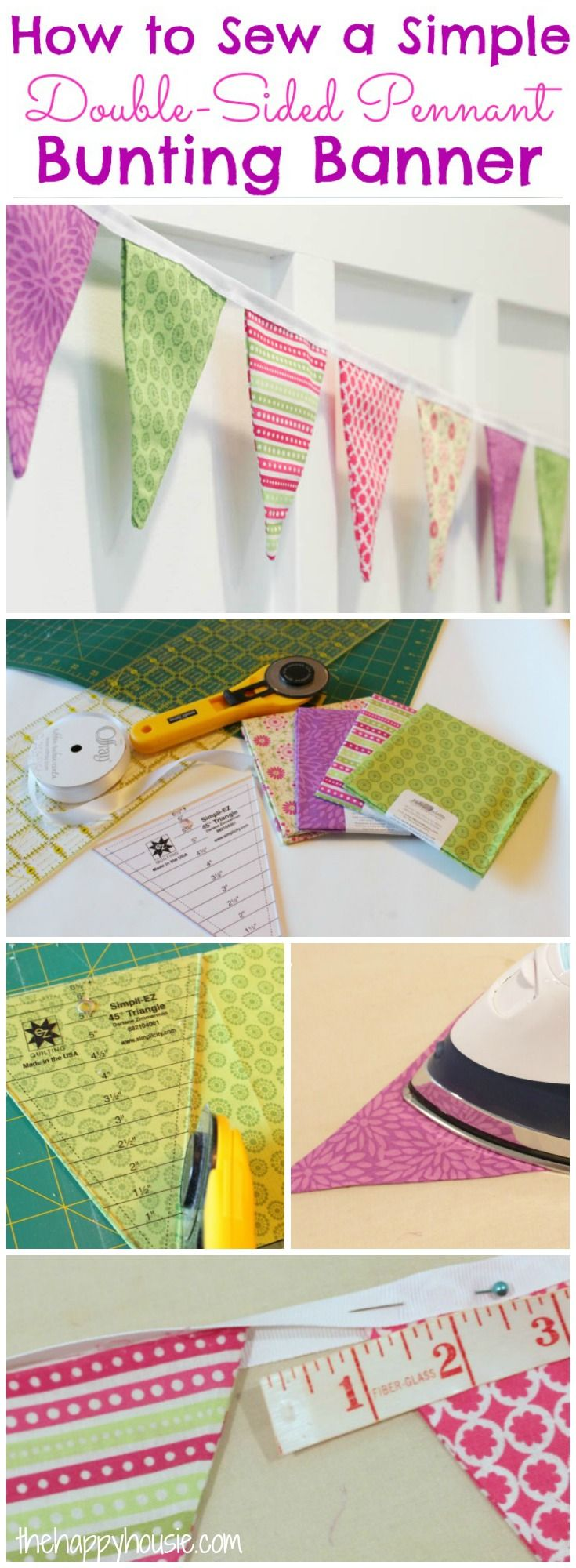 You can sew your own pennant with this easy tutorial for how to sew a simple double-sided pennant bunting banner at thehappyhousie.com