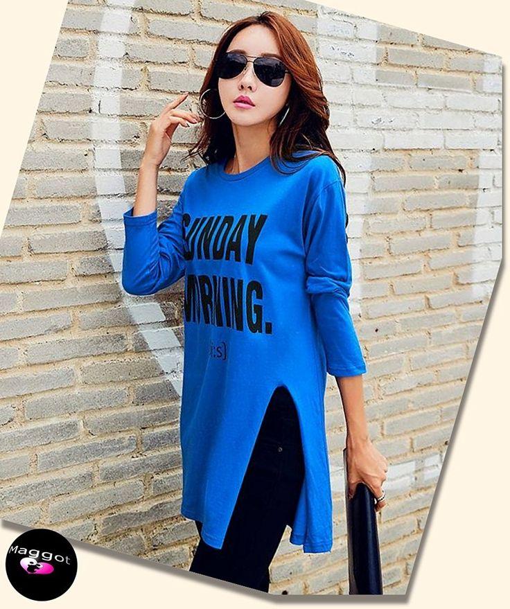Amazon | ( マゴット ) Maggot ロング Tシャツ レディース 長袖 シンプル トップス カジュアル ゆったり タイプ選べる 3カラー 4サイズ | Tシャツ・カットソー 通販