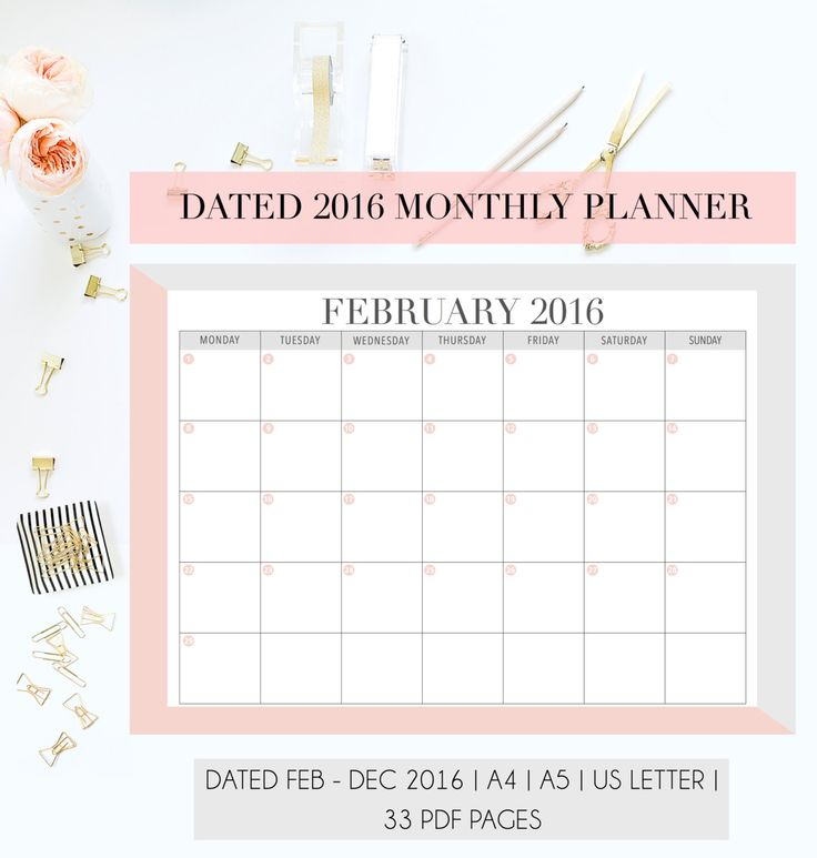 Desk Calendar Planner : Dated monthly planner pages refill insert a us