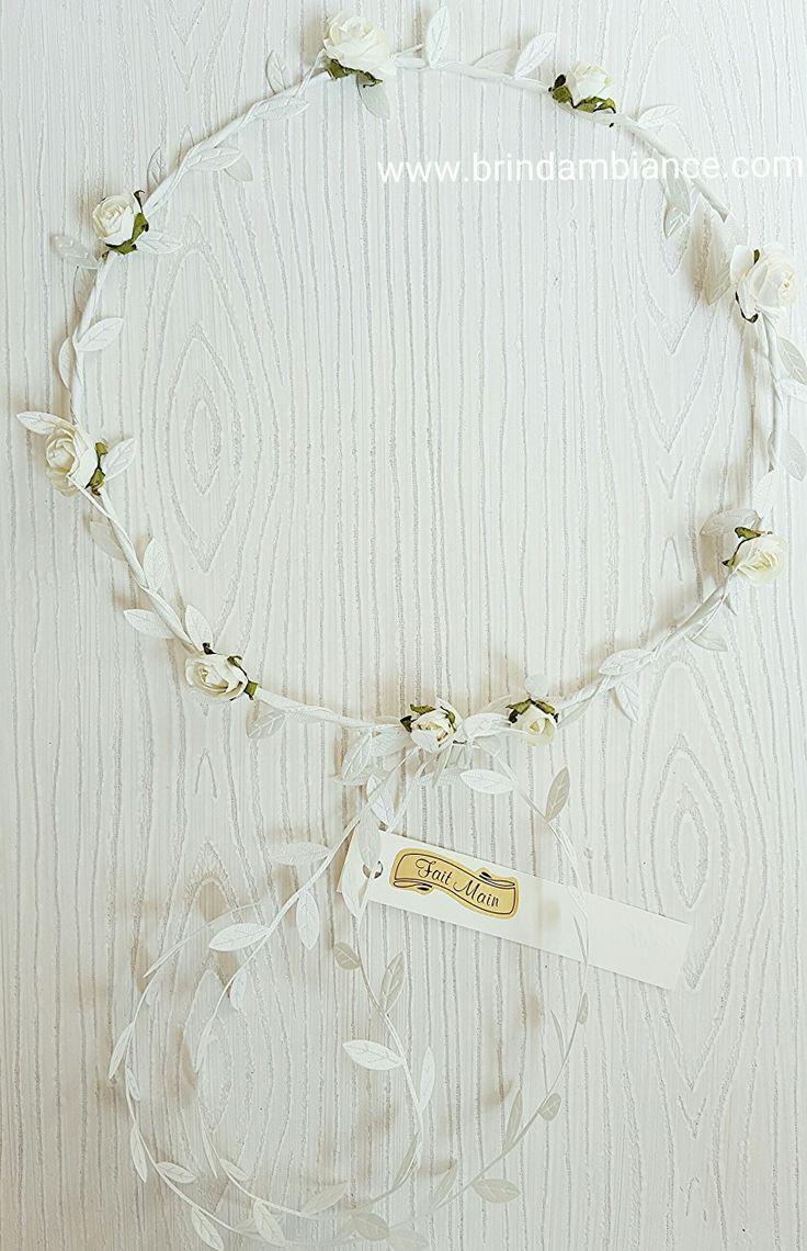 Bandeau à cheveux avec fleurs blanches et ruban blanc - Fait-main par Brin d'ambiance Dinan Headband with white flowers and white ribbons - Hand made by Brin d'ambiance Dinan