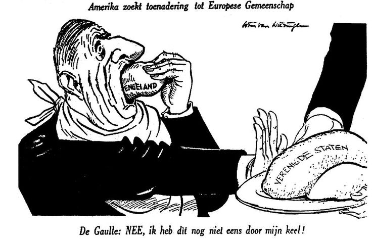 'America is seeking rapprochement with the European Community. De Gaulle: No, I can't bring myself to swallow that yet!' No sooner had the United Kingdom applied for accession to the European Economic Community (EEC) in 1961 than the US President, John F. Kennedy, proposed the establishment of trade links with the EEC. This was all too much for General de Gaulle.
