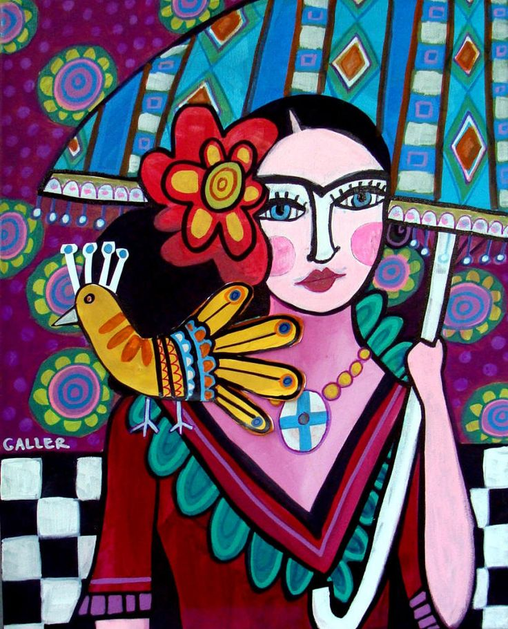 Frida Kahlo Mexican Folk Art Painting Portrait By Heather Galler