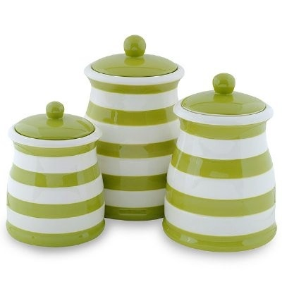 NEW Ceramic Canister W Lid Set 3 Piece Green Home Kitchen Stripes Home Jars Part 26