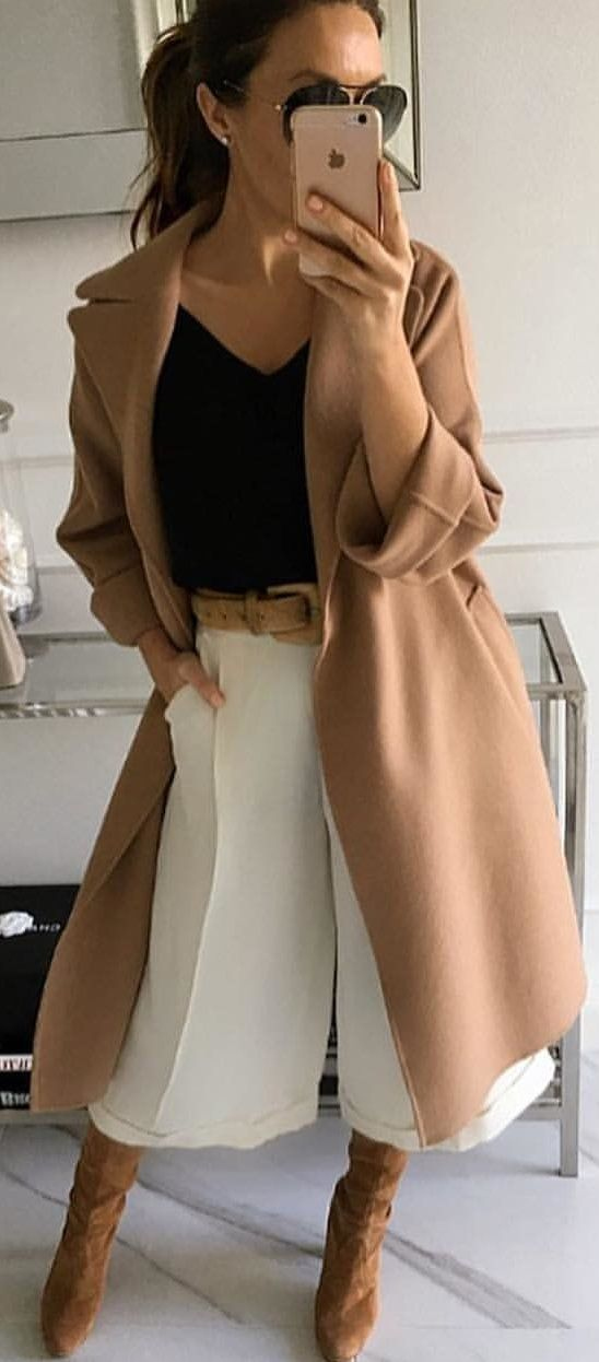 #winter #outfits  pair of brown suede booties ; brown trench coat