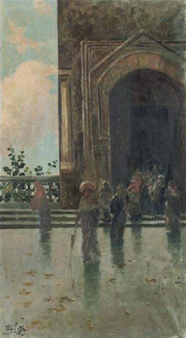 Uscita dalla chiesa (olio su tela, 81x46 cm, collezione privata)