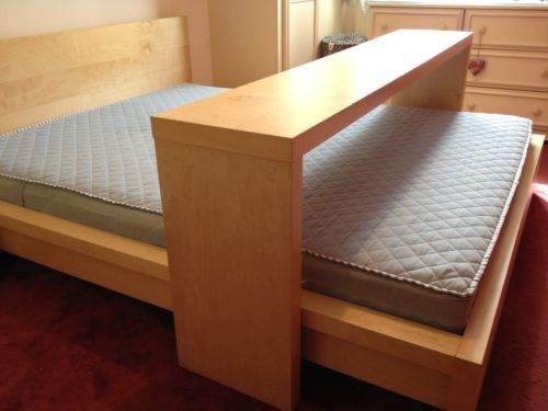 ikea malm kingsize bed with mattress and sliding overbed table ikea