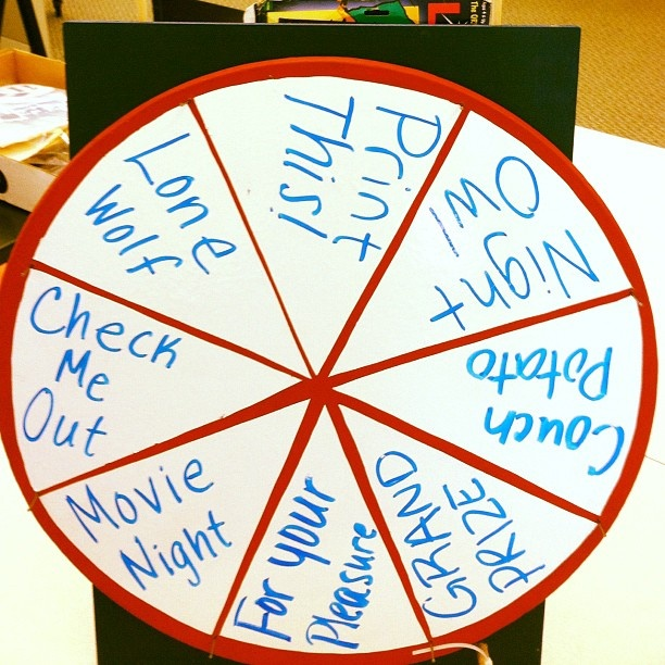 """""""Wheel o' Knowledge"""" prize wheel created for orientation fairs - @ricelibrary- #webstagram: Orientation Fairs, Organizational Fair, Ricelibrary, Wheel Created, F Cking Book, Prize Wheel"""