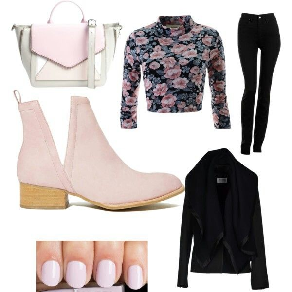Flower T-Shirt Black blazer Armani Jeans black Jean Pink leather boots Gray and pink bag Pink nails