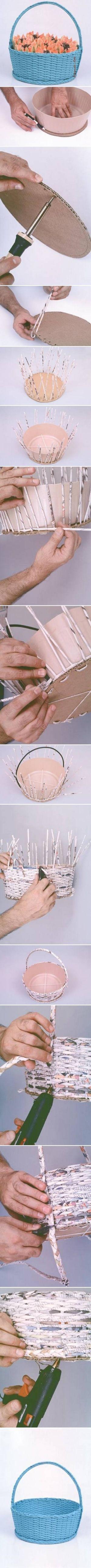 DIY Simple Newspaper Basket DIY Simple Newspaper Basket by diyforever