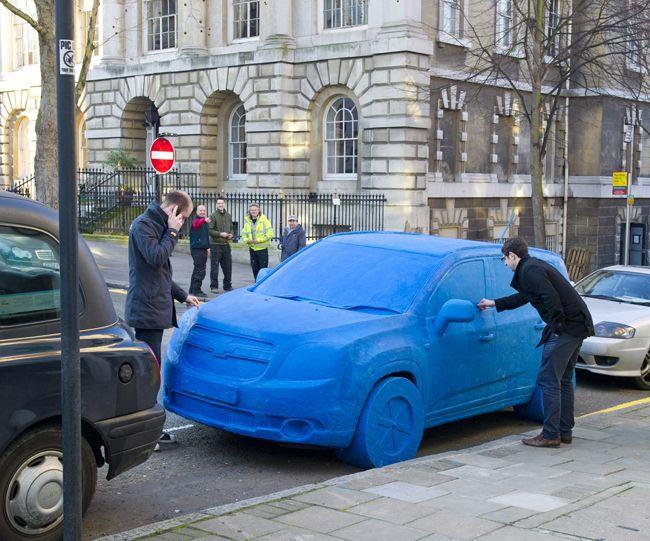 1.5 ton blue Playdoh advertisement in London for Chevrolet