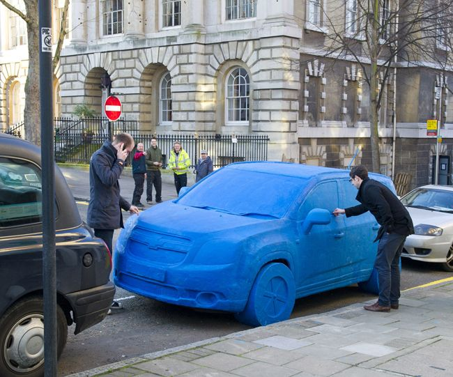 1.5 ton blue Playdoh advertisement in London for Chevrolet