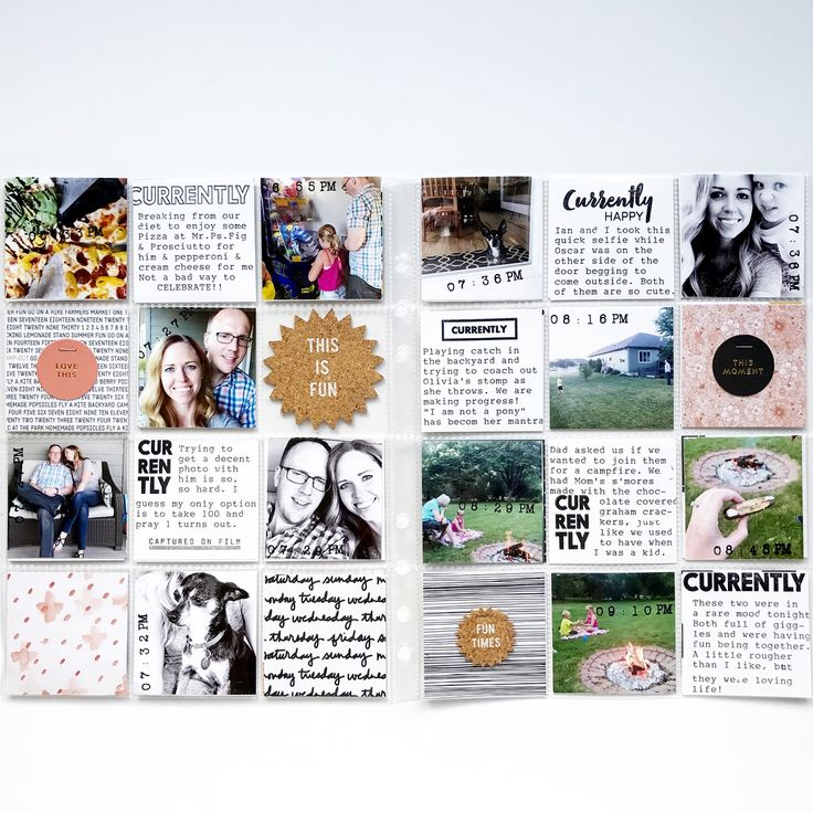 I wrapped up my #aedayinthelife ! I ended up sticking with the 6x8 inserts because I actually liked what I had started. I loved adding in the time on each picture and did all of my journaling with my $3 electric typewriter and @kellie.stamps new CURRENTLY stamp set. Other than PL, I think this is my favorite project to take part in. Another note - I have these awesome Becky Higgins PL cards with rounded corners that I don't really use anymore (because square) and they were perfect to tri...