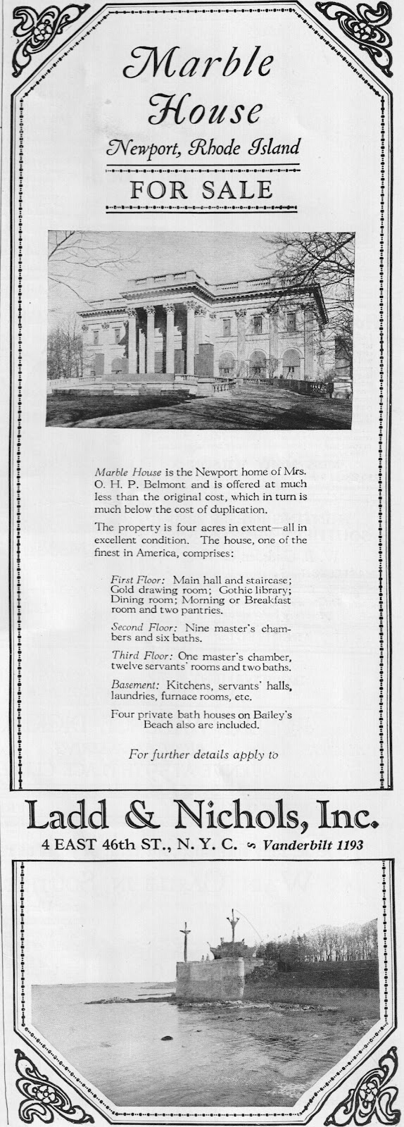 Marble House | Alva (Vanderbilt) Belmont sold Marble House to Frederick H. Prince in 1932. It was purchased 1963 from the Prince estate by Alva's son, Harold S. Vanderbilt, who donated it to the  Preservation Society of Newport County.