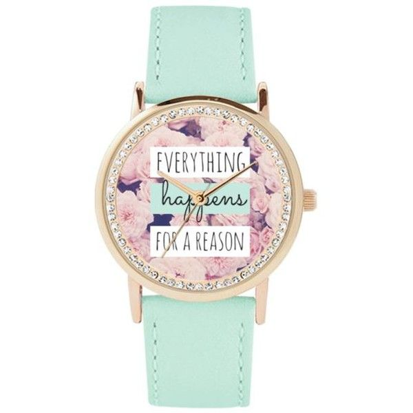 Jessica Carlyle Mint Womens Everything Happens For A Reason Watch -... ($20) ❤ liked on Polyvore featuring jewelry, watches, mint, polish jewelry, mint green watches, floral watches, dial watches and mint jewelry