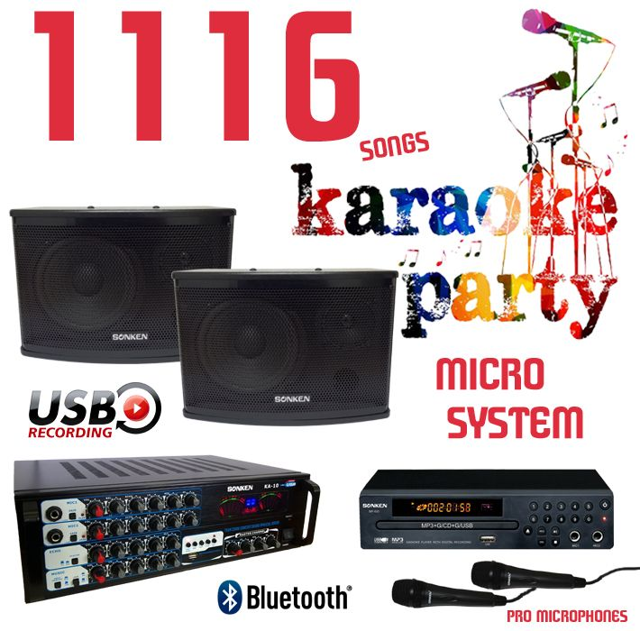 1116 Songs Karaoke Party Micro System complete with 2 Professional Wired Microphones and Karaoke Amplifier and Speakers