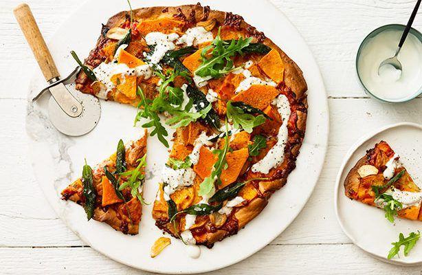 Roasted garlic pumpkin, sage & ricotta spelt pizza – recipe courtesy of Jalna