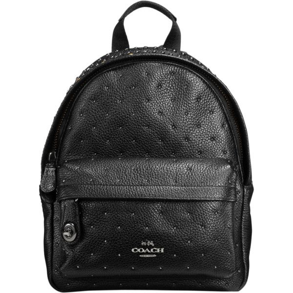 Coach Bandana Rivets Campus mini backpack in leather (24,580 PHP) ❤ liked on Polyvore featuring bags, backpacks, black, real leather backpack, coach bags, leather bags, leather backpack bag and leather rucksack