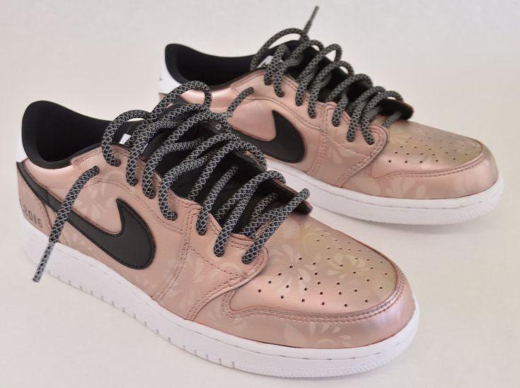 Custom Rose Gold Jordan Retro 1 Low OG Sneakers - Hand Painted