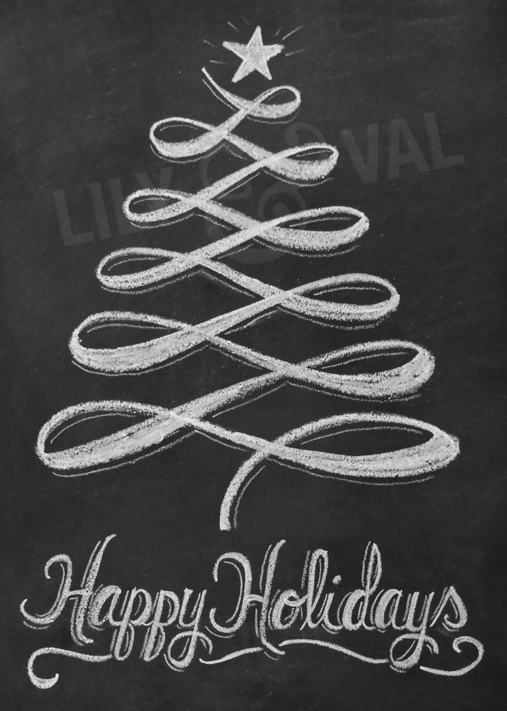 Holiday Chalkboard Card - Christmas Tree Card - Modern Christmas Card - Holiday Chalkboard Art - Digital Christmas Image- Happy Holidays. $19.00, via Etsy.