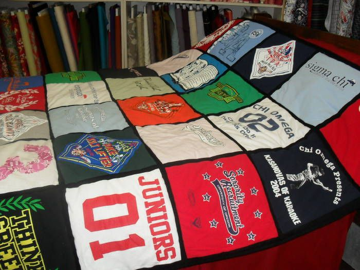 How to make a tee shirt quilt.  Make one of these for the boys for graduation with all their sports t-shirts.